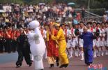 重庆大学运动会开幕式大玩穿越 唐僧牵手大白