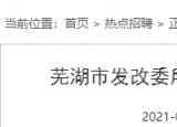 芜湖市发改委所属事业单位招聘编外工作人员1人