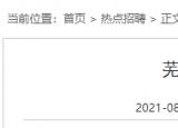 芜湖一国企招聘派遣制收费员5名,正式员工1名,8月30日报名截止